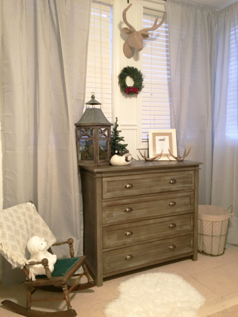 nursery dresser and curtains