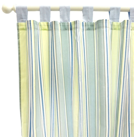 Blue & Green Stripe Curtain Panels  | Blue Skye Collection
