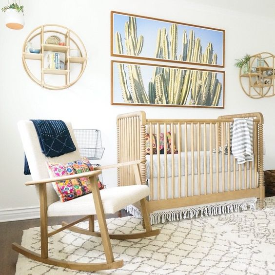 17 Adorable Ways To Decorate Above A Baby Crib: Cactus Baby Bedding