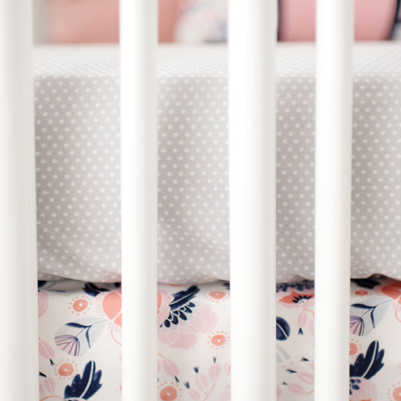 Gray Dot Crib Sheet | Camping Floral Crib Collection