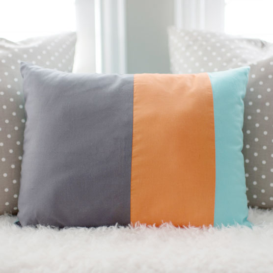 Stripe Colorblock Pillow Aqua Orange Gray | Dalmatian Spots Crib Collection