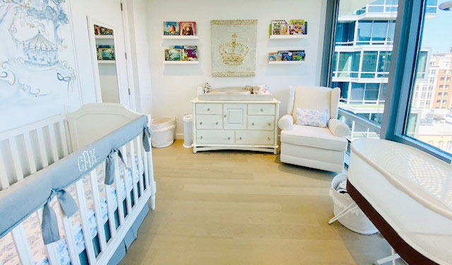 full view of grey and blue nursery