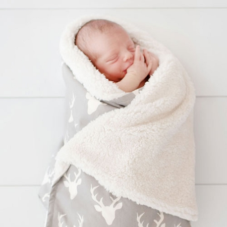 Gray Deer Faux Fur Baby Blanket | Buck Forest in Mist Crib Collection