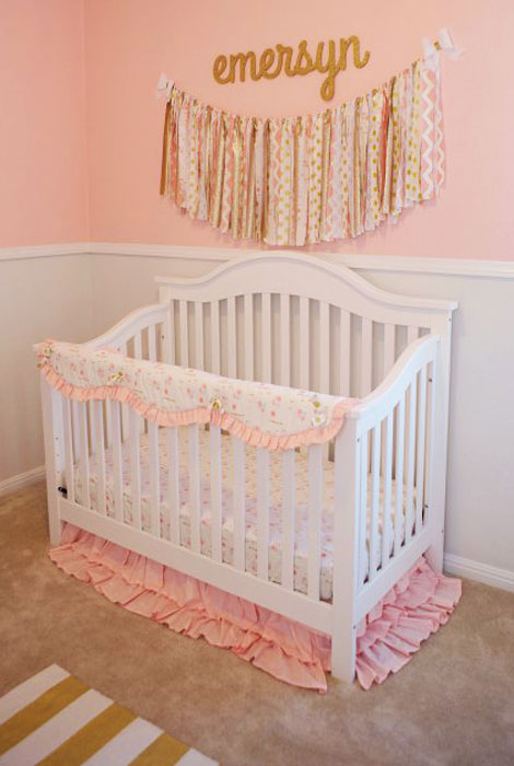 pink and gold nursery | pink and gold baby room