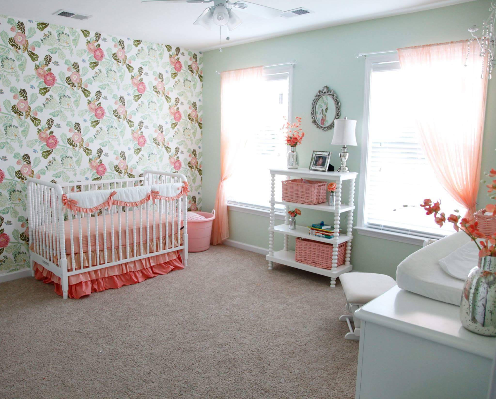 Full Room Shot Hannahs Room crib dresser shelf unit coral curtains white crib jenny lind