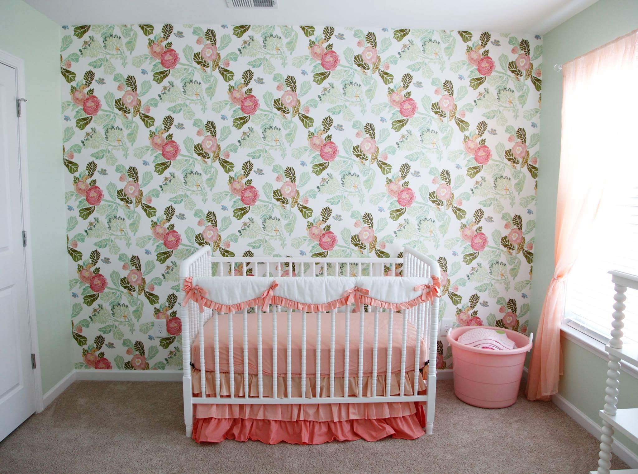 Hannahs Baby Room Sweet Nursery Ideas Girls coral baby bedding floral wallpaper jenny lind white crib