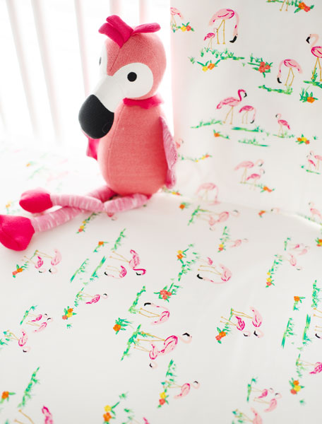 flamingo crib sheet