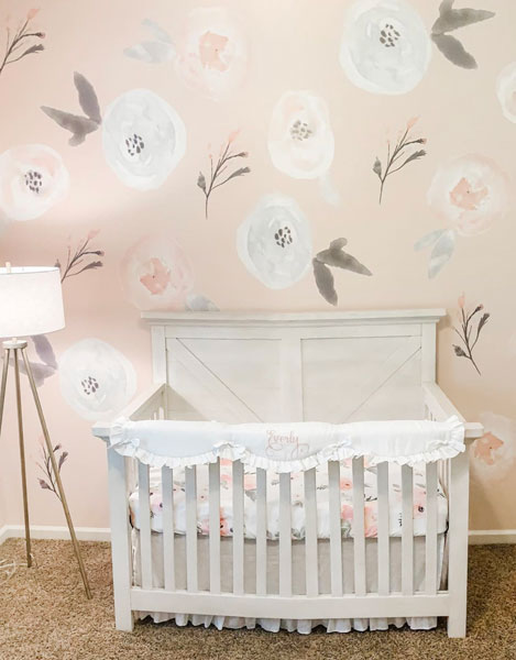white linen baby bedding floral wallpaper