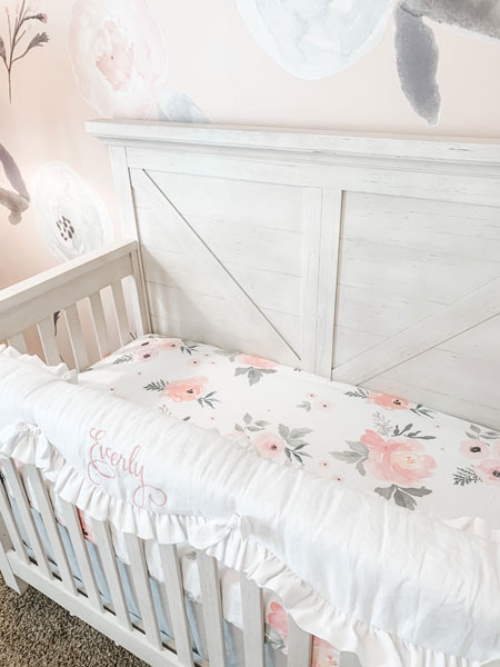 white linen baby bedding