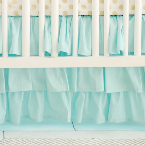 Mint Ruffled Crib Skirt