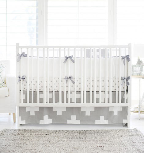 Swiss Cross Baby Bedding | Gray Swiss Cross Collection