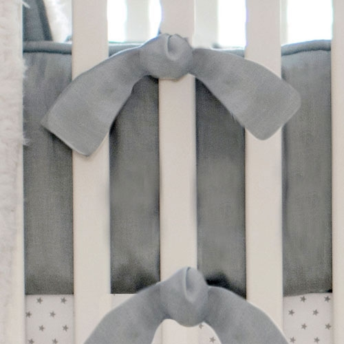 Gray Linen Bumper | Washed Linen in Gray Collection