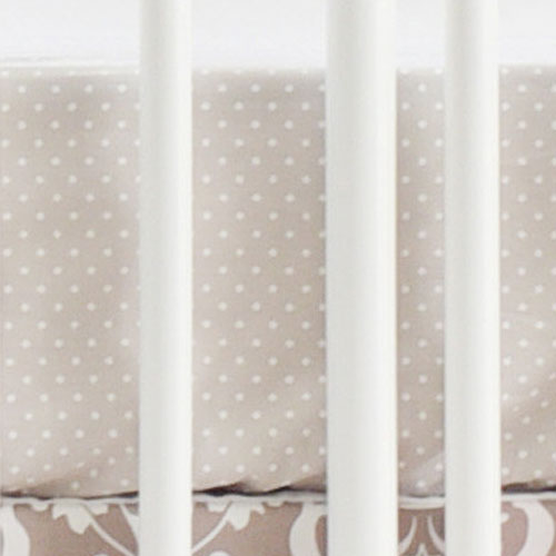 Gray Polka Dot Crib Sheet | Halle Damask Collection