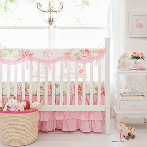 Hello Roses Cream Floral Bumperless Crib Collection
