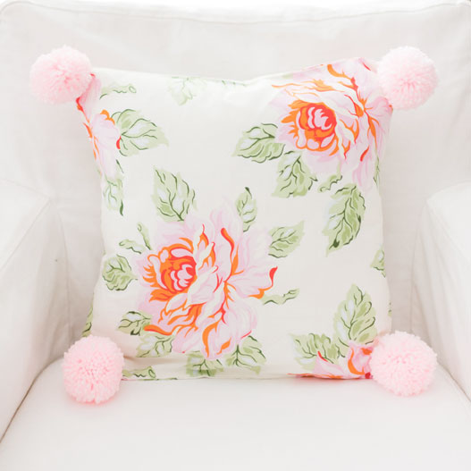 Pink Rose Pillow with Pom Poms | Hello Roses Crib Collection