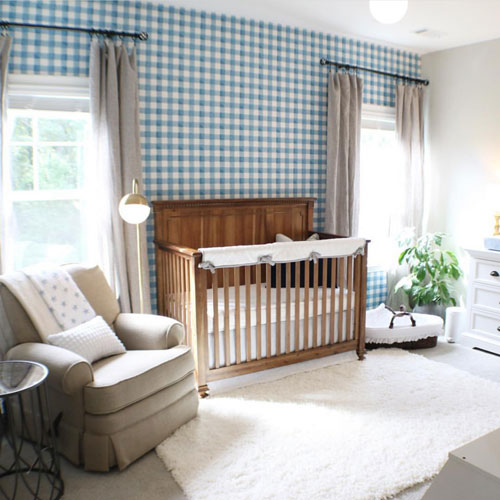 The Blue Buffalo Plaid Wallpaper Makes A Bold Statement And Is Perfect Backdrop For Rustic Wood Crib This Nursery