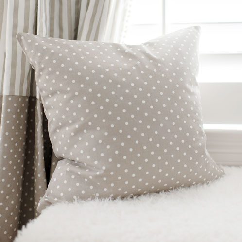 Khaki Polka Dot Pillow | Dalmatian Spots Crib Collection