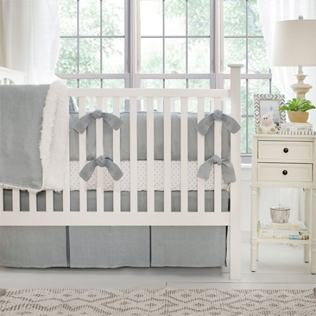 Neutral Linen Crib Bedding | Washed Linen in Gray Nursery Collection