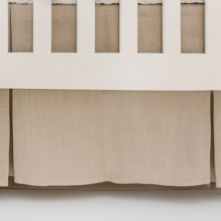 Pleated Linen Crib Skirt | Washed Linen in Flax Collection