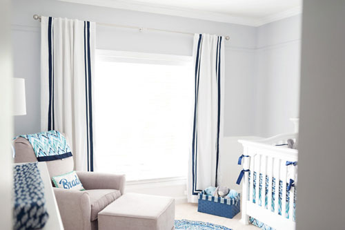 And The Royal Blue Gl Lamp Gives A Fun Pop Of For Finishing Touch Brady S Nursery Is Personalized With Large Letters Above White Crib