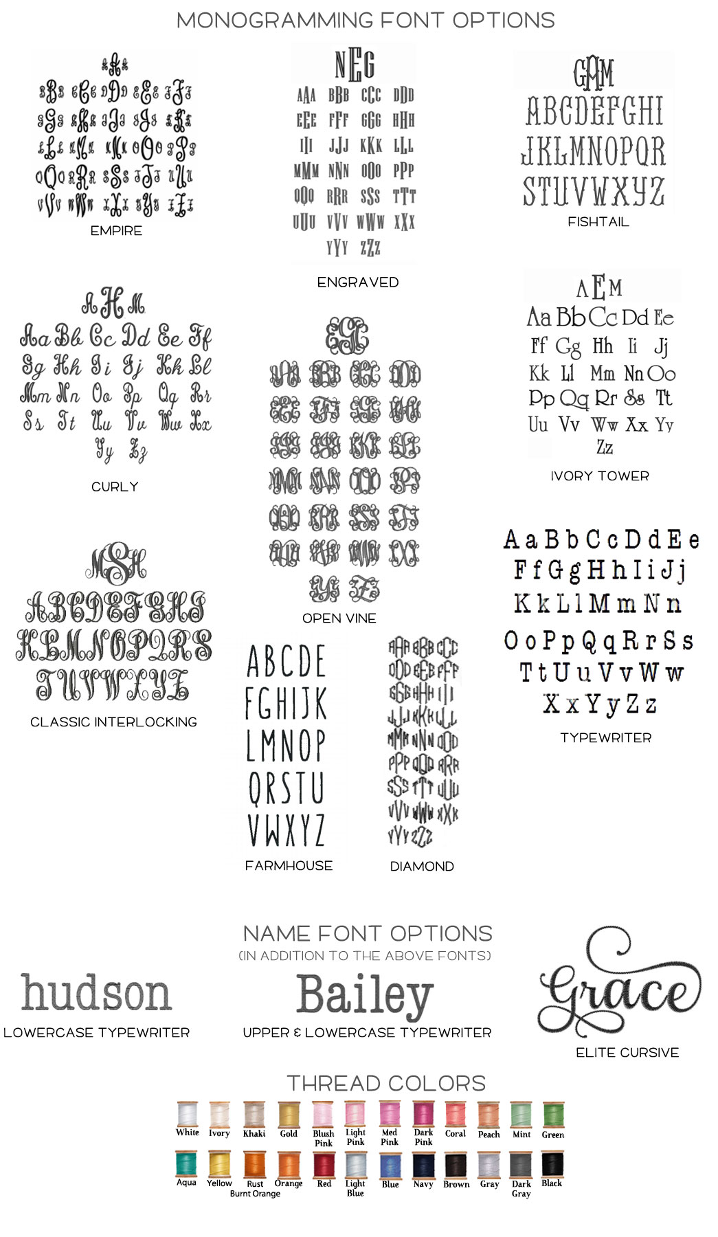 monogramming options
