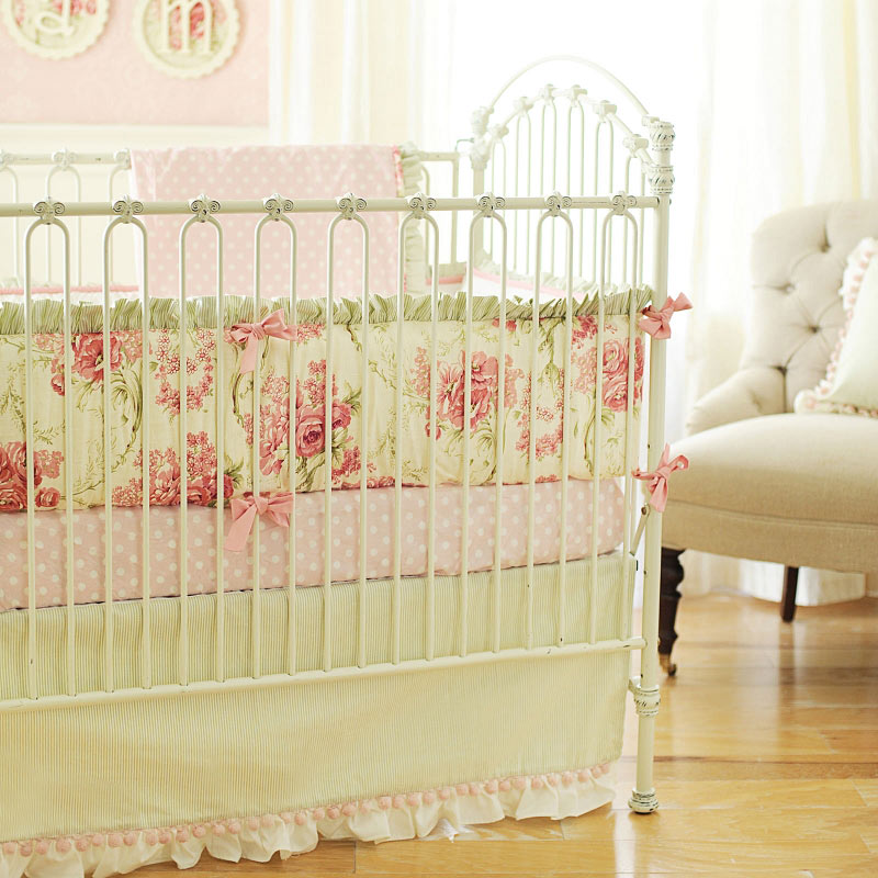 set bedding sheets yellow girl cribs baby vintage girls flower nursery vanessa crib floral