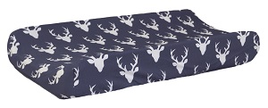 Navy Deer Changing Pad Cover | Buck Forest in Twilight Deer Crib Collection