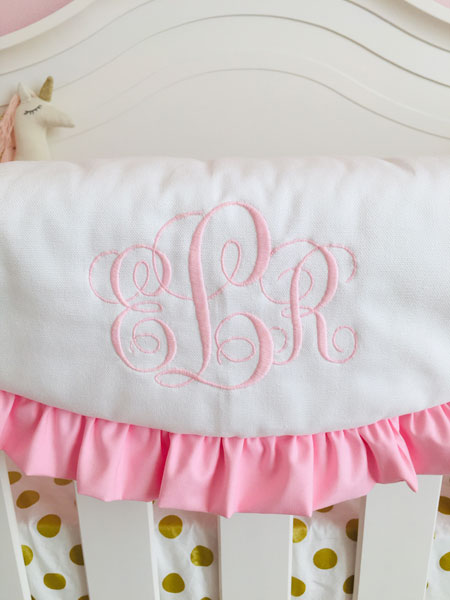 pink and gold crib bedding