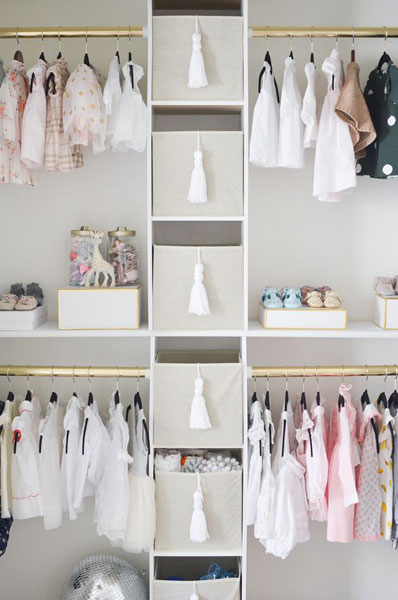 Not Only Is This Nursery Organized, Itu0027s Gorgeous As Well! The Brass Rods  And DIY White Tassels Are A Nice Touch! The Neutral Colored Bins Are A  Great Spot ...