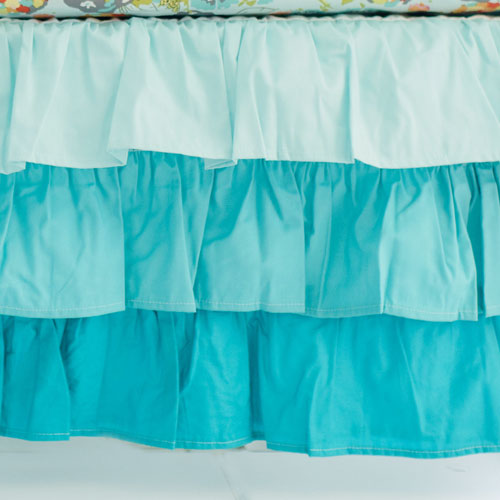 Aqua Ruffled Crib Skirt | Ombre Collection