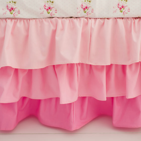 Pink Ruffled Crib Skirt | Pink Ombre Collection