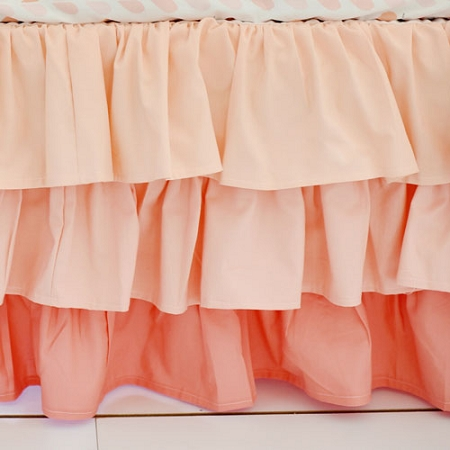 Peach Ruffled Crib Skirt | Summer Grove II Crib Collections