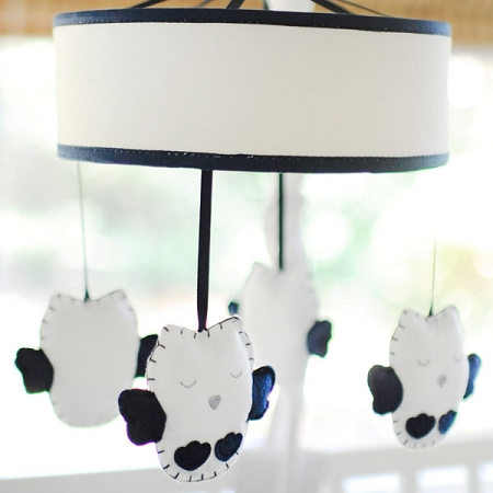 Navy Owl Baby Mobile