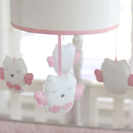 Pink Owl Musical Baby Mobile