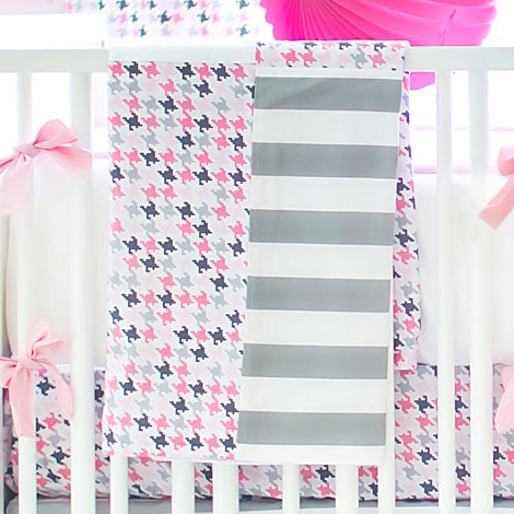 Pink and Gray Baby Blanket | Paper Moon Crib Collection