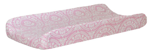 Figgy Pink Damask Changing Pad Cover | White Crib Collection