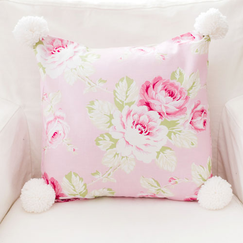 Pink Rose Pillow with Pom Poms| Pink Desert Rose Collection