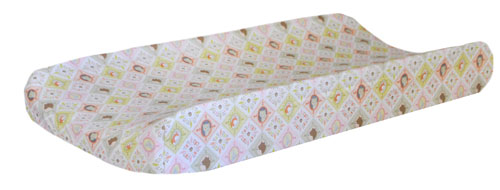 Pink Woodland Patchwork Changing Pad Cover | Born Wild in Pink Crib Collection