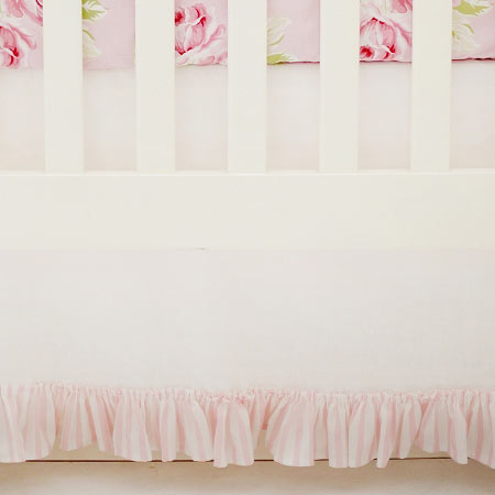 White Linen Crib Skirt with Pink Stripe Ruffle