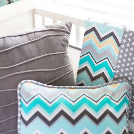 Aqua and Gray Chevron Baby Blanket | Piper in Gray Crib Collection