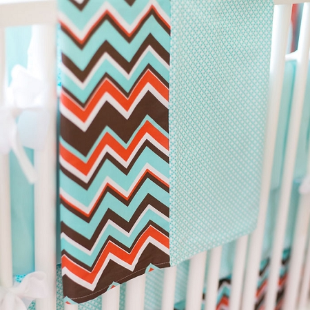 Aqua Chevron Baby Blanket | Piper in Aqua Crib Collection