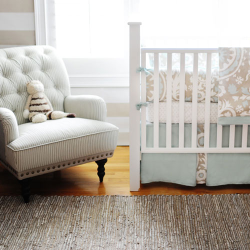 Neutral Aqua and Khaki Baby Bedding | Picket Fence Crib Collection