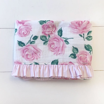 Baby Girl Swaddle Blanket with Ruffle | Rose Garden Crib Collection