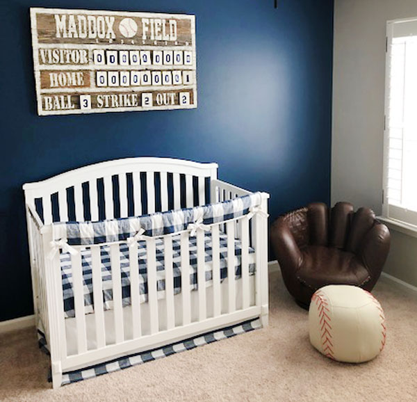 navy buffalo crib bedding