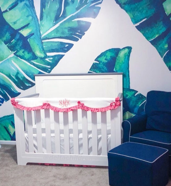 colorful nursery & palm leaf wallpaper