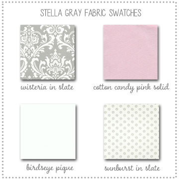 Stella Gray Bedding Collection Fabric Swatches Only