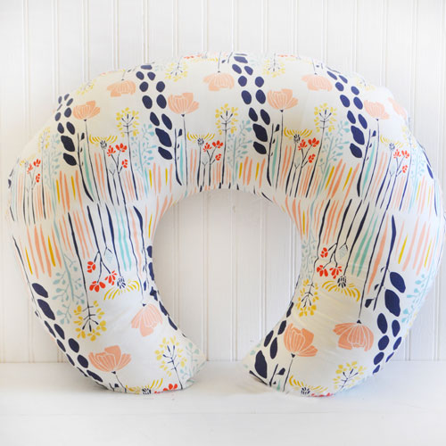 Peach & Navy Floral Nursing Pillow Slipcover | Summer Grove Collection
