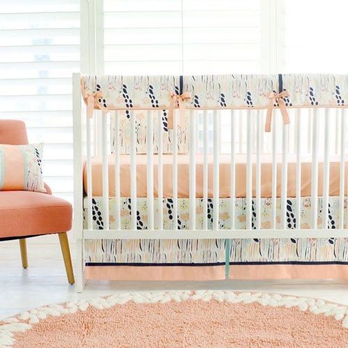 Navy and Peach Nursery Guard Set | Summer Grove Bumperless Collection