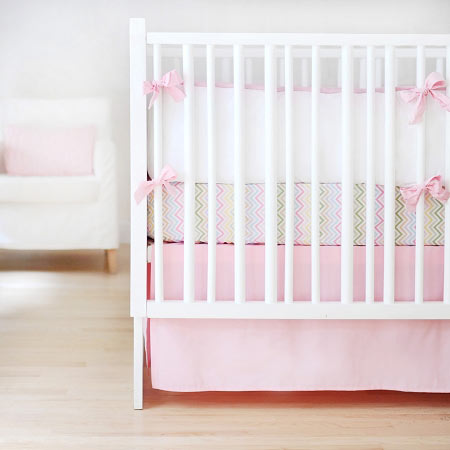 crib pink front skirt two pleat pleats large designs rosa trim gray with carousel inch and