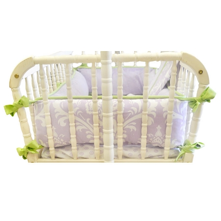 Lavender Damask Cradle Bedding | Sweet Violet Crib Collection